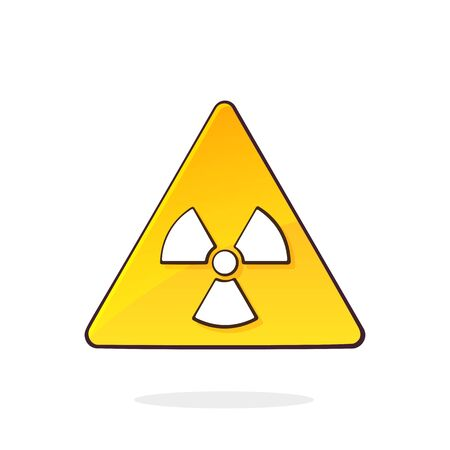 Ionizing radiation hazard symbol. Game and x-rays energetic. Yellow triangular warning sign. Danger attention signal. Cartoon vector illustration with outline. Clip art Isolated on white background