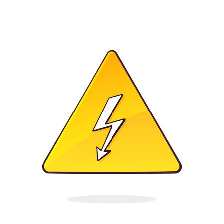 Yellow high voltage symbol with electric lightning. Triangular caution danger sign. Hazard warning sign. Cartoon vector illustration with outline. Clip art Isolated on white background Ilustração