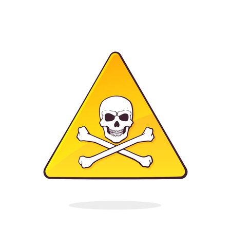 Yellow deadly danger symbol with skull and crossbones. Triangular caution danger sign. Hazard warning sign. Cartoon vector illustration with outline. Clip art Isolated on white background Ilustração