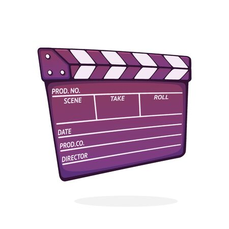 Closed clapperboard used in cinema when shooting a film. Symbol of the movie industry. Symbol of the movie industry. Cartoon vector illustration with outline. Clip art Isolated on white background