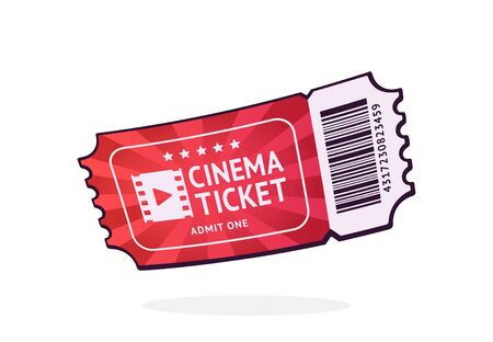 One cinema ticket with barcode. Paper retro coupon for movie entry. Symbol of the film industry. Cartoon vector illustration with outline. Clip art Isolated on white background