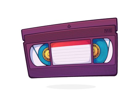VHS cassette. Video tape record system. Retro storage of analog information. Movie industry. Cartoon vector illustration with outline. Clip art Isolated on white background Ilustração