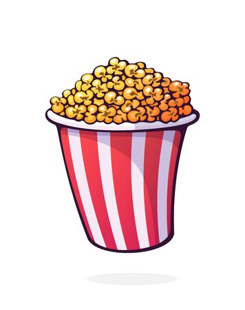 Bucket full of popcorn. Red and white striped paper cup with junk snack. Symbol of the film industry and fast food. Cartoon vector illustration with outline. Clip art Isolated on white background
