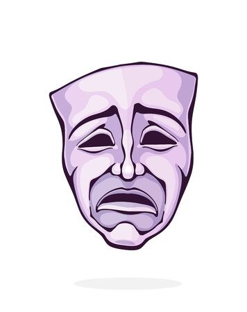 Theatrical drama mask. Vintage opera mask for tragedy actor. Face expresses negative emotion. Film and theatre industry. Cartoon vector illustration with outline. Clipart Isolated on white background