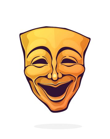 Theatrical comedy mask. Vintage opera mask for happy actor. Face expresses positive emotion. Film and theatre industry. Cartoon vector illustration with outline. Clipart Isolated on white background