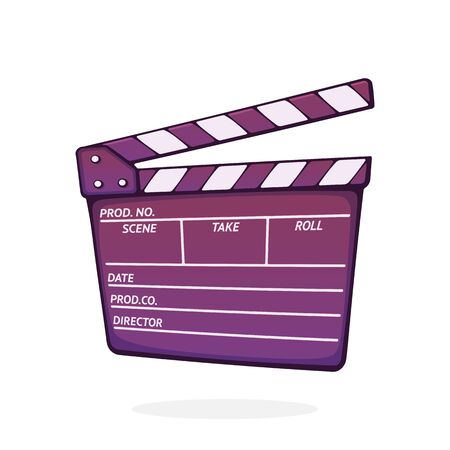 Open clapperboard used in cinema when shooting a film. Cinematograph clapper board. Symbol of the film industry. Cartoon vector illustration with outline. Clip art Isolated on white background