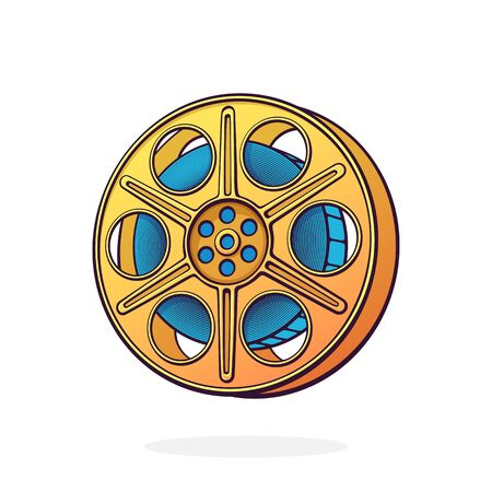 Film stock. Vintage camera reel. Movie industry. Old cinema strip. Retro storage of analog video information. Cartoon vector illustration with outline. Clip art Isolated on white background
