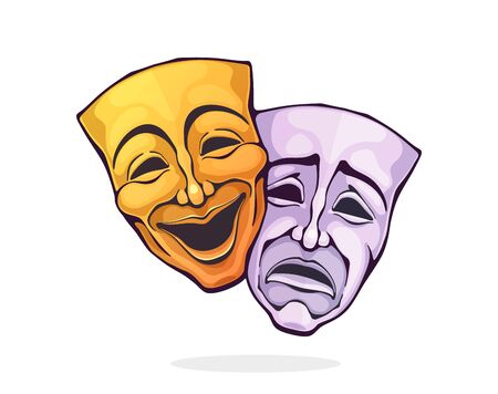 Two theatrical comedy and drama mask. Bipolar disorder symbol. Positive and negative emotion. Film and theatre industry. Cartoon vector illustration with outline. Clipart Isolated on white background Ilustração