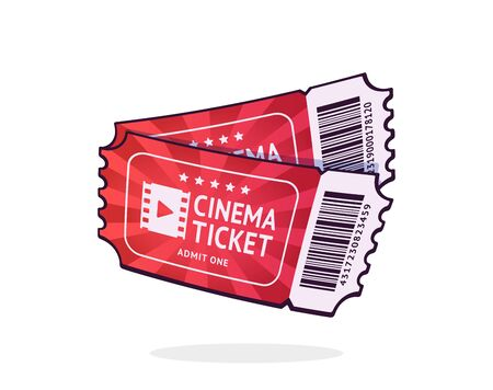 Two cinema tickets with barcode. Pair paper retro coupons for movie entry. Symbol of the film industry. Cartoon vector illustration with outline. Clip art Isolated on white background