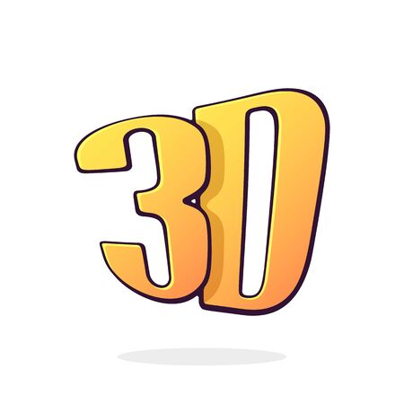Abbreviation 3D for three-dimensional film. Lettering style icon for stereo movies. Symbol of the film industry. Cartoon vector illustration with outline. Clip art Isolated on white background Ilustração