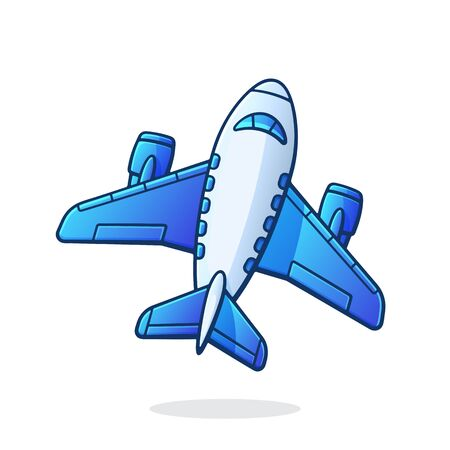 Flying air plane top view. Summer journey by air transport. Symbol of aviation and tourism. Vector illustration with outline in cartoon style. Clip art Isolated on white background