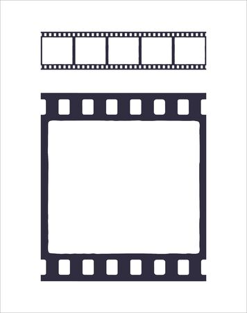 Seamless template of silhouette of cinema or photo strip. Simple black retro pattern of filmstrip for brush. Film industry. Vector illustration with outline. Clip art Isolated on white background
