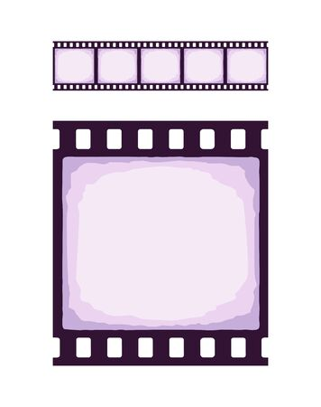 Seamless template of cinema or photo strip. Realistic colored retro pattern of filmstrip for brush. Film industry. Vector illustration. Clip art Isolated on white background