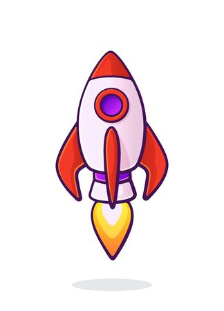Flying rocket space ship with flame from turbine. Space ship shuttle transport. Concept of business startup. Vector illustration with outline in cartoon style. Clip art Isolated on white background