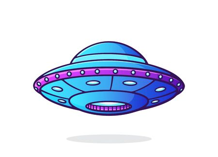 UFO with lights. Alien space ship. Futuristic unidentified flying object. World UFO day symbol. Vector illustration with outline in cartoon style. Clip art Isolated on white background Illustration