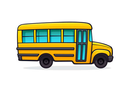 Yellow school bus. Passenger transport for transportation of children to school. Back to school. Vector illustration with outline in cartoon style. Clip art Isolated on white background