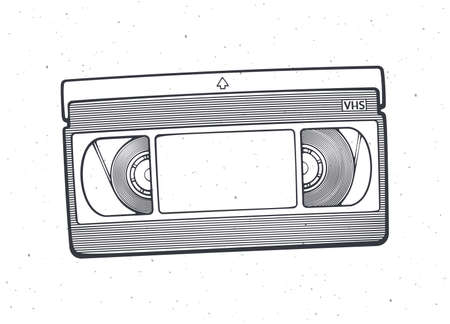 Outline of VHS cassette. Vector illustration. Video tape record system. Retro storage of analog information. Hand drawn black ink sketch, isolated on white background. Print for packaging, showcases