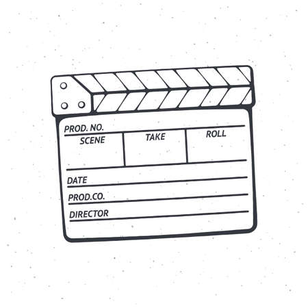 Outline of closed clapperboard. Symbol of the movie industry, used in cinema when shooting a film. Vector illustration. Hand drawn black ink sketch, isolated on white background Ilustração