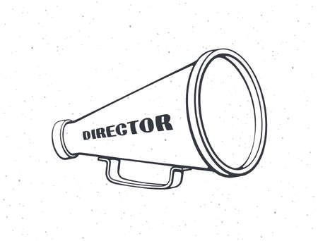 Outline of retro megaphone with word director. Vintage hand loud speaker. Voice audio information, film industry symbol. Vector illustration. Hand drawn black ink sketch, isolated on white background Vecteurs