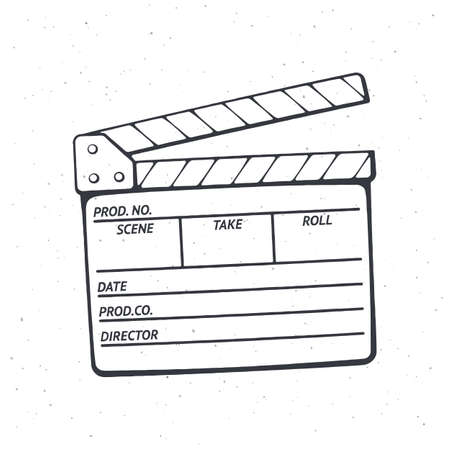Outline of open clapperboard. Symbol of the movie industry, used in cinema when shooting a film. Vector illustration. Hand drawn black ink sketch, isolated on white background