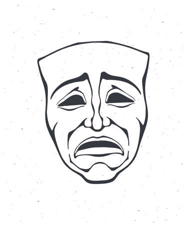 Outline of theatrical drama mask. Vintage opera mask for tragedy actor. Face expresses negative emotion. Film and theater industry. Vector illustration. Hand drawn sketch, isolated on white background