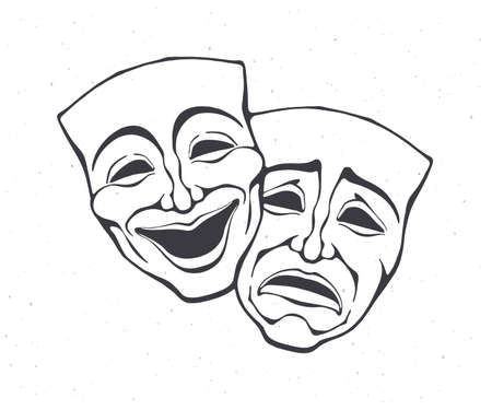 Two theatrical comedy and drama mask. Outline. Bipolar disorder symbol. Positive and negative emotion. Film and theater industry. Vector illustration. Hand drawn sketch. Isolated white background