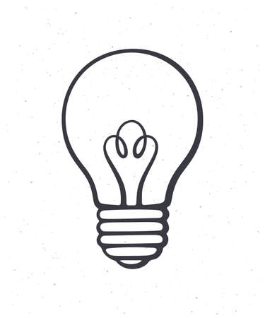 Light bulb. Outline. Symbol of idea, new solution and creativity. Vector illustration. Hand drawn sketch. Isolated white background. Graphic design for packaging, signboards, showcases, textiles