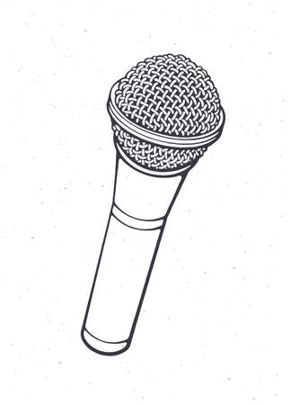 Modern microphone for voice, music, sound, speak, radio recording. Outline. Vector illustration. Pop, disco, jazz, blues, rock equipment. Hand drawn sketch. Isolated white background Ilustração