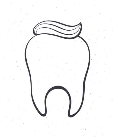 Clean healthy human tooth with toothpaste. Outline. Vector illustration. Symbol of somatology and oral hygiene. Hand drawn sketch. Isolated white background Ilustração