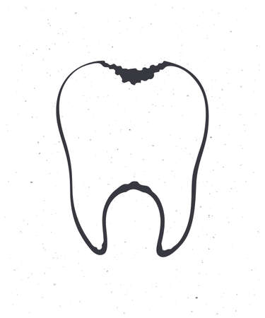 Unhealthy human tooth with caries. Outline. Vector illustration. Symbol of somatology and oral hygiene. Hand drawn sketch. Isolated white background