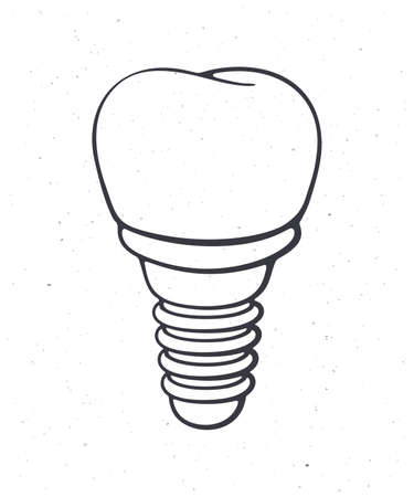 Dental implant of human tooth. Outline. Vector illustration. Symbol of somatology and oral hygiene. Fixture prothesis in dentistry. Hand drawn sketch. Isolated white background