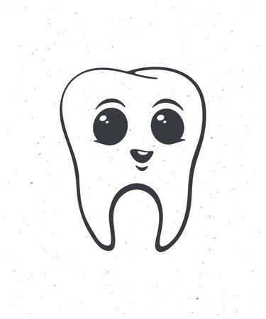 Happy smiling healthy baby human tooth with eyes. Outline. Vector illustration. Symbol of somatology and oral hygiene. Hand drawn sketch. Isolated white background Vettoriali