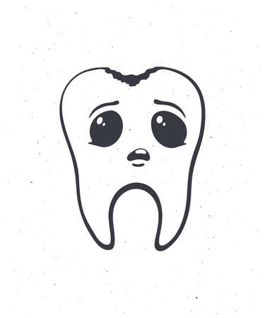 Cute unhealthy human tooth with sad eyes and caries. Outline. Vector illustration. Dental decay. Symbol of somatology and oral hygiene. Hand drawn sketch. Isolated white background