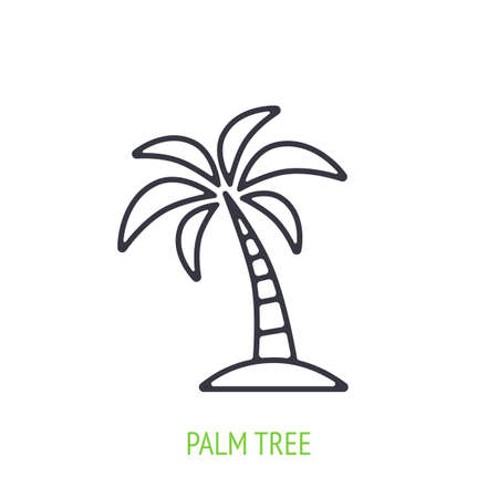 Palm tree outline icon. Vector illustration. Tropical and island forest. Symbol of summertime, travel and beach paradise. Thin line pictogram for user interface. Isolated white background