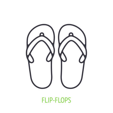 Flip-flops outline icon. Vector illustration. Beach shoes for summer time. Symbol of summertime, travel and tourism. Thin line pictogram for user interface. Isolated white background