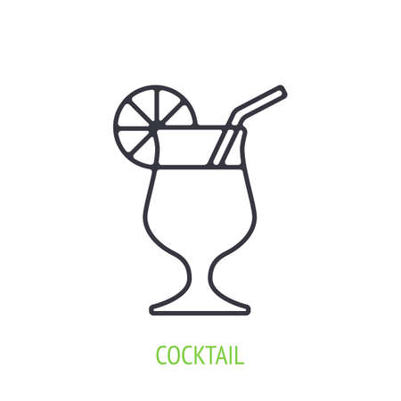 Cocktail with orange slice and straw. Outline icon. Vector illustration. Symbol of summertime, travel and all inclusive resort. Thin line pictogram for user interface. Isolated white background 矢量图像