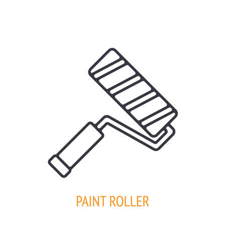 Paint roller outline icon. Vector illustration. Hand work tools and instrument. Construction and art industry symbol. Thin line pictogram for user interface. Isolated white background