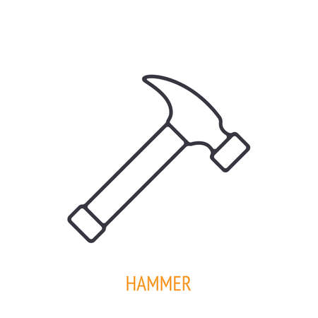 Claw hammer outline icon. Vector illustration. Hand work tools and instrument. Construction industry symbol. Thin line pictogram for user interface. Isolated white background Ilustração