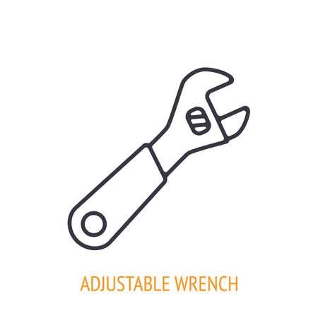 Adjustable wrench or spanner outline icon. Vector illustration. Hand work tools and instrument. Construction industry symbol. Thin line pictogram for user interface. Isolated white background 矢量图像