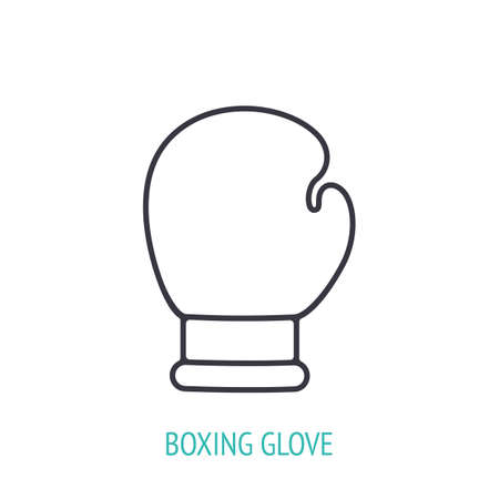 Boxing glove outline icon. Vector illustration. Sports equipment. Inventory for boxing. Fight training symbol. Thin line pictogram for user interface. Isolated white background 向量圖像