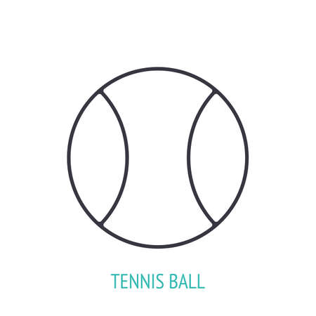 Tennis ball outline icon. Vector illustration. Sports equipment. Inventory for athletic game. Training symbol. Thin line pictogram for user interface. Isolated white background