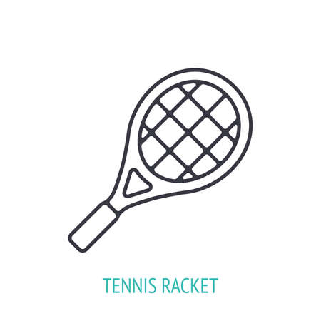 Tennis racket outline icon. Vector illustration. Sports equipment. Inventory for athletic game. Training symbol. Thin line pictogram for user interface. Isolated white background