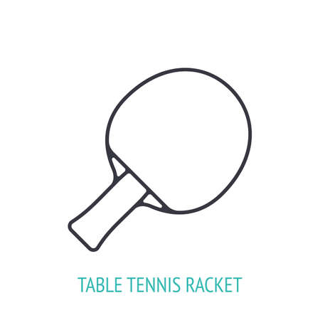 Table tennis racket outline icon isolated on white 向量圖像
