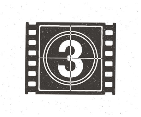 Silhouette of film strip part with countdown timer. Vector illustration. Retro frame of filmstrip. Vintage movie timer for cinema. Clipart for signboards, showcases. Isolated white background