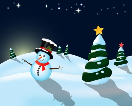 early in the evening: Early evening winter landscape and snowman with hat and stars
