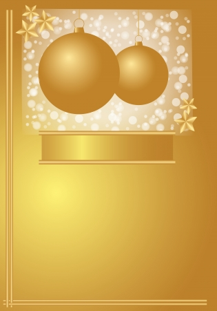 Card with golden Christmas balls on golden background