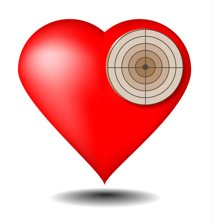 Red heart as a target on a white background  Ilustracja