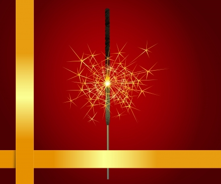 Christmas sparkler on a red background and a gold stripes