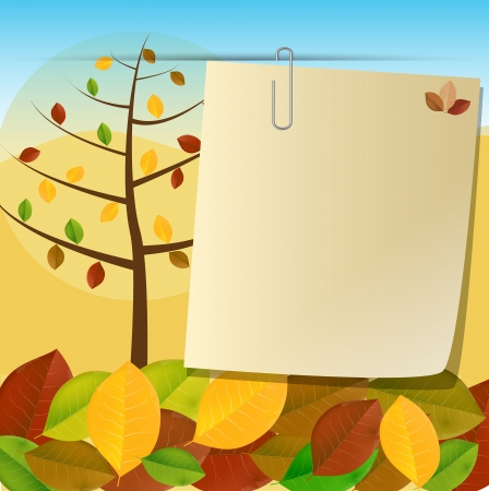 Card pinned to autumn background with trees and colorful foliage  Ilustracja