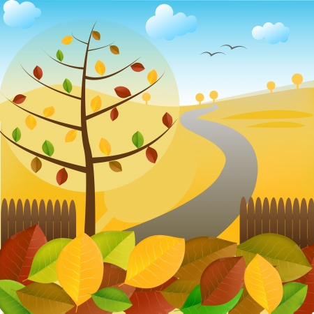 Autumn landscape with tree and colorful foliage Ilustracja
